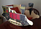 Vintage Toddler Child Choo Choo Ride On Train Wooden Rocker Riding Toy