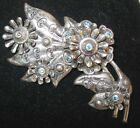 Sterling Silver Pin Pendant Flowers Leaves Aqua Crystals