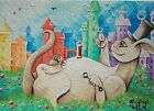 ACEO original/fantasy/landscape/city creature bubbles/watercolor/2.5x.3.5inch