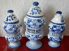 Lot of 3 Beautiful Blue and White Antique French Apothecary Jar