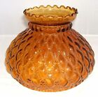 ANTIQUE FENTON AMBER DIAMOND QUILTED GLASS HURRICANE LAMP SHADE