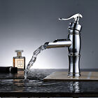 Wall Mounted Waterfall Bathroom Faucet Chrome Brass Spout Vanity Sink Mixer Tap