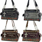 BI-893-BIBLE VERSE PURSE WESTERN RHINESTONE CONCEALED CARRY GUN PURSE BLING BAG