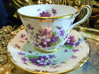 AYNSLEY FANCY  TEA CUP AND SAUCER HP VIOLETS MOLDED RIMS GOLD GILT TRIM c1950s