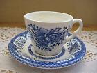 BEAUTIFUL EIT ENGLISH IRONSTONE ENGLAND BLUE & WHITE FLOWER TEA CUP & SAUCER