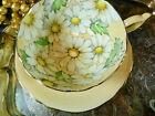 PARAGON TEA CUP AND SAUCER PALEST PEACH HP WHITE DASIY'S GILT QUEEN MARY 1939