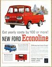 FORD Econoline Pickup Truck 1961 Advertisement AD - Station Bus Van - Cut Costs