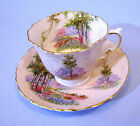 1930 AYNSLEY PINK EMBOSSED TEA CUP AND SAUCER ENGLISH COUNTRYSIDE SCENE