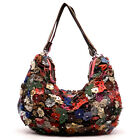 Genuine Leather Multi-color Flower Butterfly Shoulder Bag Hobo Patchwork Purse