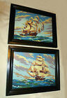 ~ PAIR ~ PAINT by NUMBER CLIPPER SHIPS SAILING ~ PANN ©1953 ~ 9.75 x 13 FRAMED