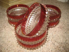 GLASS VINTAGE BOWLS.  SET OF SIX (6).  ROSE COLORED TRIM.  BEAUTIFUL!
