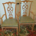 Vintage Two (2) Identical Arm Chairs Original White Wash Finish Made In Italy