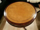 Imperial mahogany made in Grand Rapids Michigan round drum table inset  leather