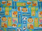Safari Blocks flannel fabric animals lion tiger giraffe elephant by the 1/2 YARD