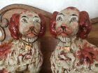 Staffordshire Victorian Spaniels Statues - 1850-1880 - Mantel Pair Dogs