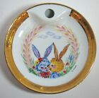Limoges France Baby Bowl Warming Bunny Rabbits Porcelain G Labesse No Stopper