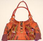 Sharif tooled leather hand bag. Orange, green, and brown, with tassels.