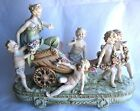 Vintage KALB Porcelain Lady on Chariot + 5 Cherubs Goddess Crossed Arrows #6380
