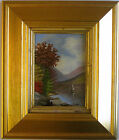 Late 1800's Hudson River School Oil On Board Unsigned In Gold Gallery Frame