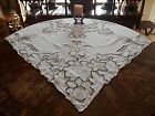 VtgAntqChic Hand Needle Cut Work Lace Embroidery Linen Decor Tablecloth ROSE 50