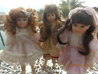 Lot of 3 PORCELAIN DOLLS Kingstate and Wimbledon Victorian