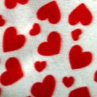 Red Hearts On White Polar Fleece Fabric BY THE YARD