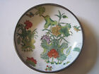 Pewter Porcelain Hand Painted Flower Plate made in Hong Kong by ACF white