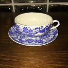 Antique Porcelian Japanese Tea Cup and Saucer White/Blue Flowering Tree (Marked)