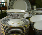 59 Pc. Royal Doulton BARONET China Dinnerware Dishes Black White Gold Set WOW