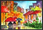ACEO ~CITY SQUARE IN RAIN ~- Original Watercolor  Painting by A.PRESS
