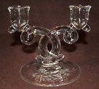 Pair of Vintage Double CANDLE Holders / Heisey / Etched Base / Clear Glass