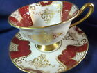 SHELLEY  TEA CUP AND SAUCER  GAINSBOROUGH  MAROON PANELS GOLD GILT DECORATION
