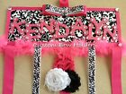 Hair Bow Holder - Toille Damask Hot Pink Accents - Any Name