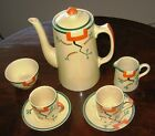 Clarice Cliff Porcelain Coffee Set Ravel Hand Painted