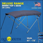 BIMINI TOP 4 Bow Boat Cover Blue 67 72 Wide 8ft Long With Rear Poles