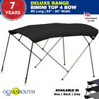 BIMINI TOP 4 Bow Boat Cover Black 85 90 Wide 8ft Long With Rear Poles