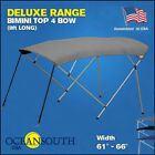 BIMINI TOP 4 Bow Boat Cover Gray 61 66 Wide 8ft Long With Rear Poles