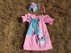 Easter girls dress,Easter outfit set,chunky bead neckklace, bow pastel size 5