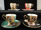 Ardalt Lenwile China Hand Painted Gold Gilt Japan 4 Footed Tea Cups 4 Saucers