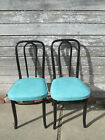 2 Vintage Bentwood Cafe Dining Chairs Bistro Ice cream chair Turquoise Blue #1#2