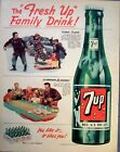 1950 7 Seven Up Family Drink Snow Sled Snowball Fight Table Top Bowling ad