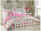REVERSIBLE GIRLS PINK BLUE WHITE TEAL PURPLE RED GREEN POLKA DOTS QUILT SET NEW