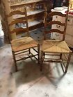 Vintage Ladder back chairs wood rush shaker style