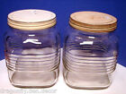 Old 1950s Clear Glass Square Nabob Coffee Storage Jar Hoosier Canister with Lid