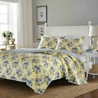 Queen Size Quilt 3 Piece Full Floral Pattern Set Reversible Cotton Blue Yellow