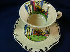 VINTAGE RIDGWAY TEA  CUP AND SAUCER ~RUSTIC COTTAGES~H.P. COTTAGE EMBOSSED SET