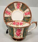 PINK ROSES PARAGON CUP & SAUCER GOLD GILDED FANCY GREEN PANELLED MINT!