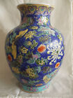 Large CHINESE Pottery Powder Blue Vase BUTTERFLIES Famille Rose Sgraffito