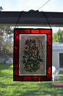 Hand-painted wild flowers stained glass suncatcher, hand made in Germany, signed