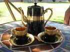 Gibson & Sons SEVRES DAVENPORT Black & Gold Coffee Pot Demitasse Cups Saucers